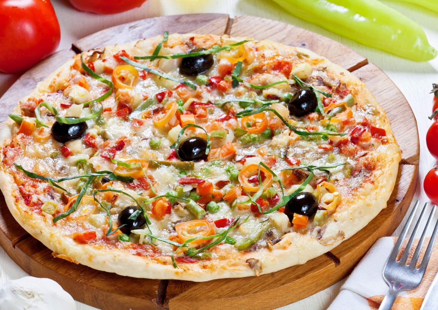 Pizza vegetariana con harina y arroz integral