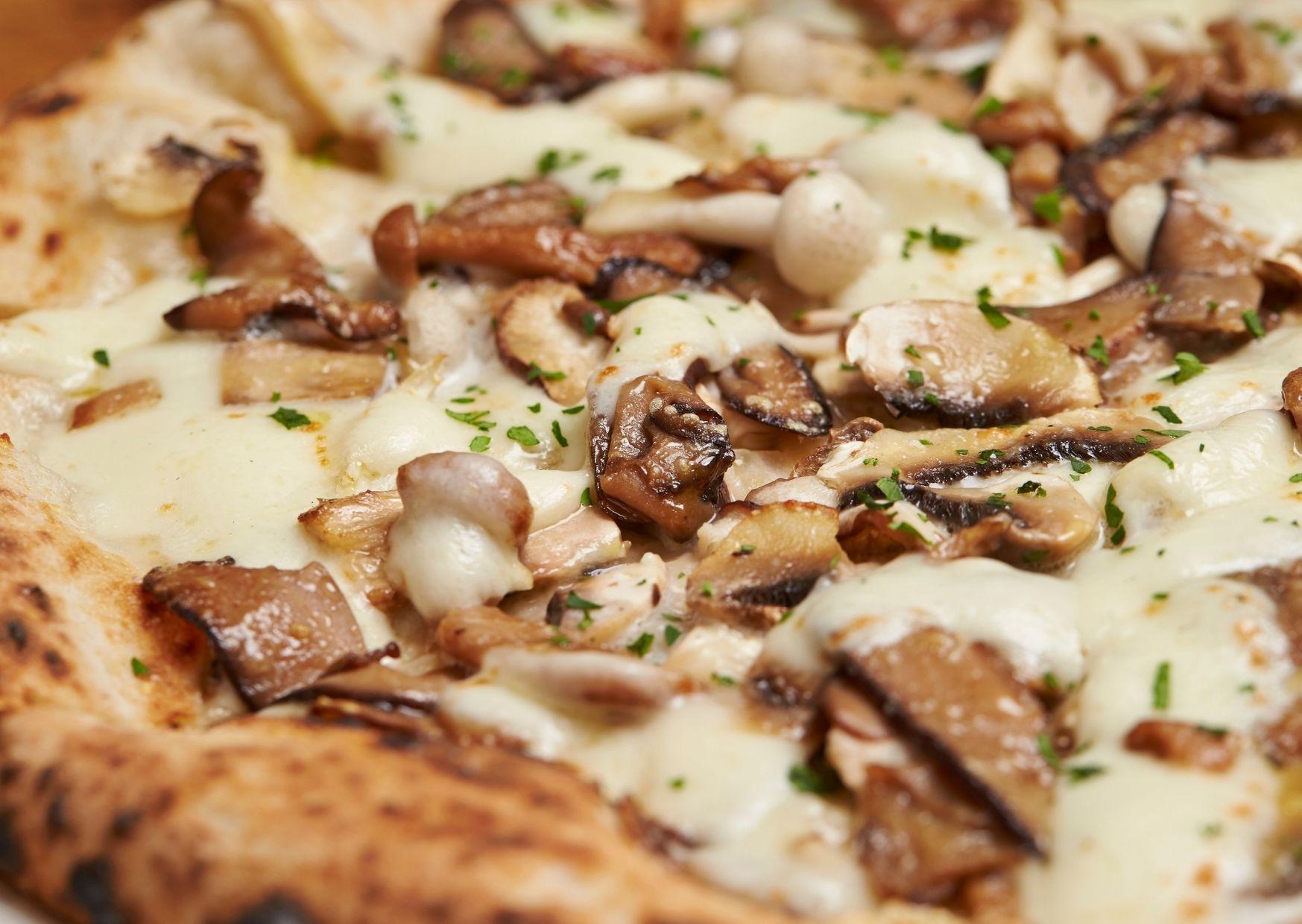 Pizza con cubierta de hongos y champiñones