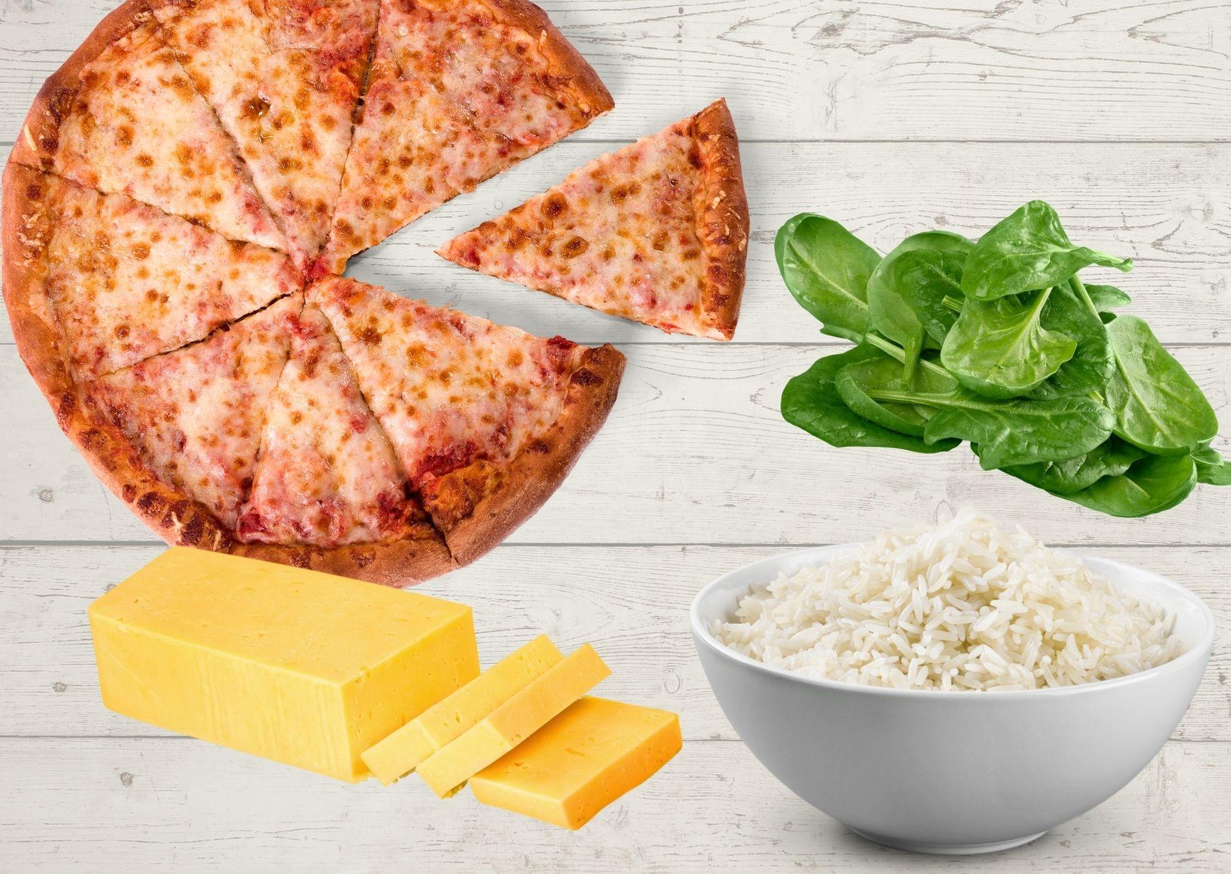 Pizza vegetariana de espinaca, arroz y queso