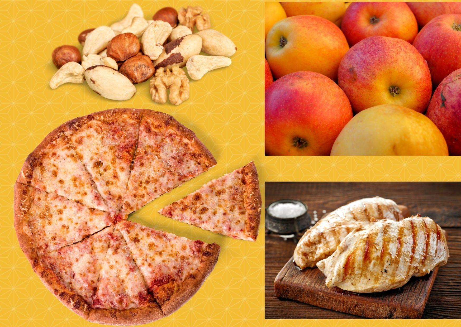 Pizza agridulce de pollo, manzanas y nueces